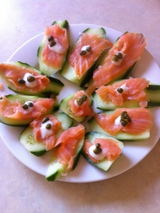 Smoked salmon on a cucumber base makes a fresh and tasty mid meal or meal