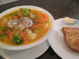 Soup and toast